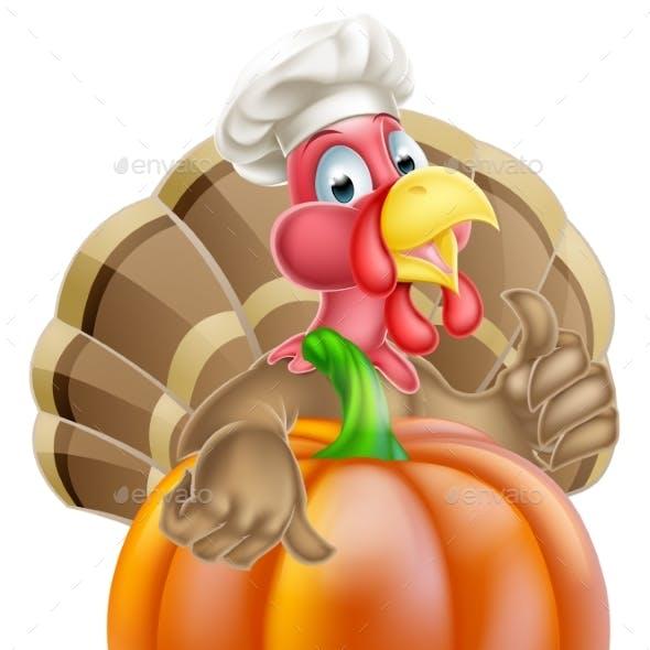 Turkey in Chef Hat and Pumpkin