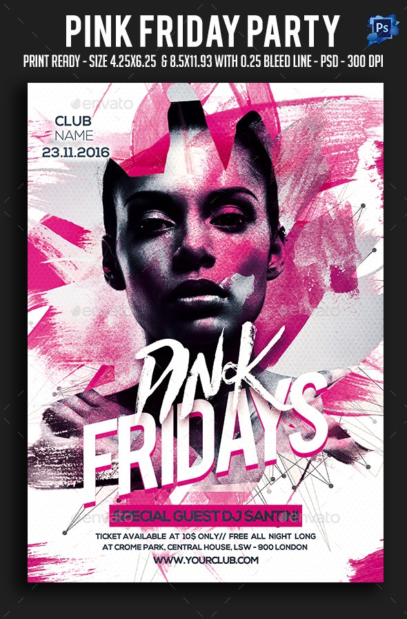 Pink Friday Party Flyer - Clubs & Parties Events