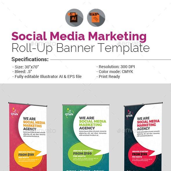 Social Media Marketing Roll Up Banner Template
