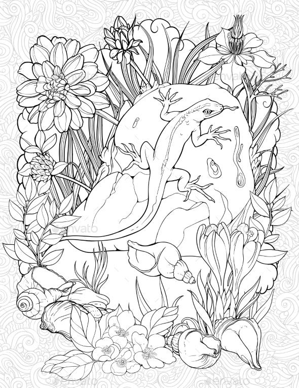 Coloring Page with a Lizard on a Stone - Flowers & Plants Nature