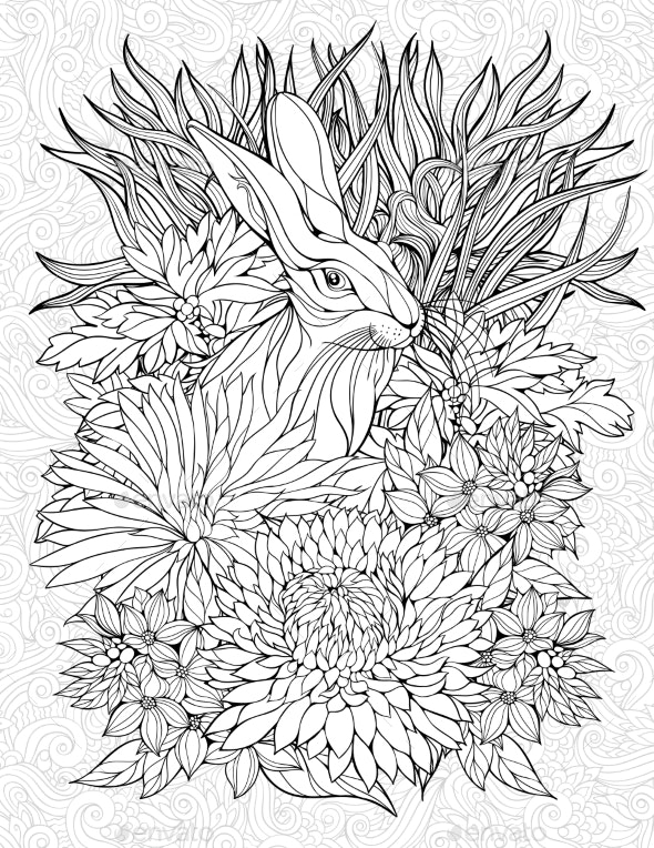 Coloring Page with a Rabbit - Flowers & Plants Nature
