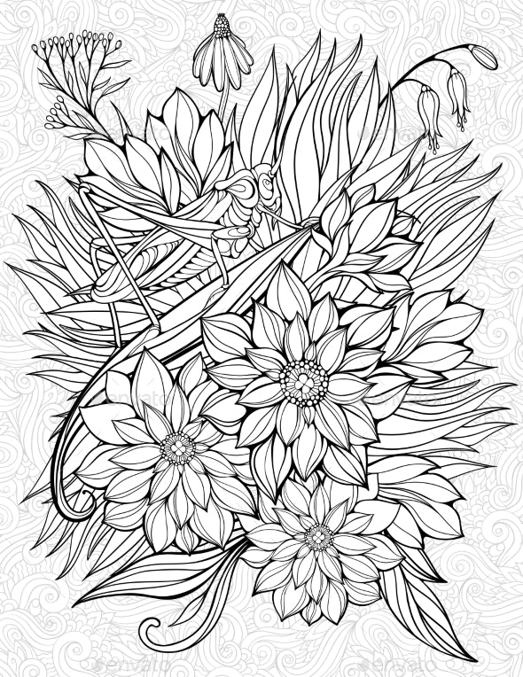 Coloring Page with Grasshopper - Flowers & Plants Nature