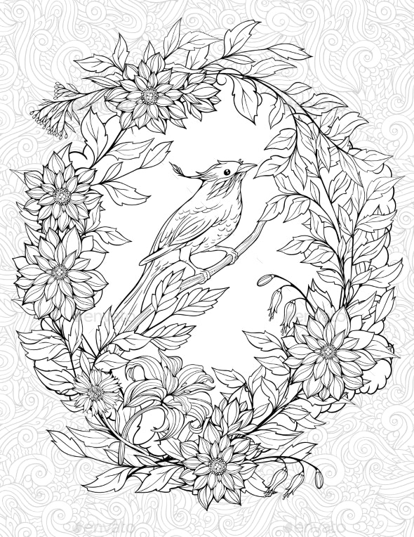 Coloring Page with Small Bird on a Branch - Flowers & Plants Nature