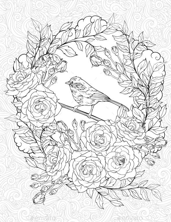 Coloring Page with a Small Bird and Roses - Flowers & Plants Nature