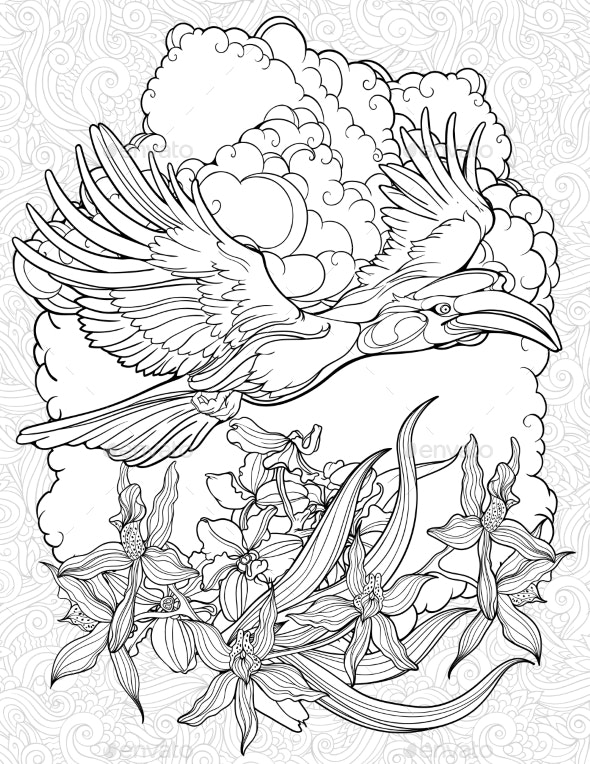 Coloring Page with Flying Hornbill - Flowers & Plants Nature