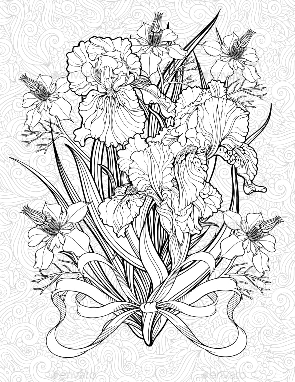 Coloring Page with Various Flowers and a Ribbon - Flowers & Plants Nature