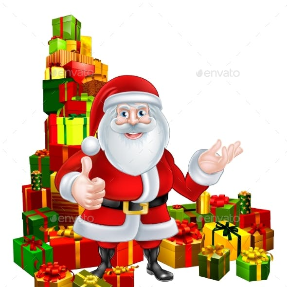 Cartoon Santa and Gifts