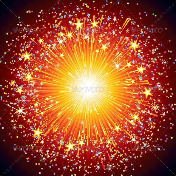 Colorful Vector Fireworks - Decorative Symbols Decorative