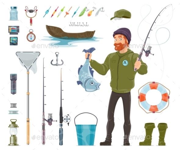 Fisherman Elements Set - Sports/Activity Conceptual