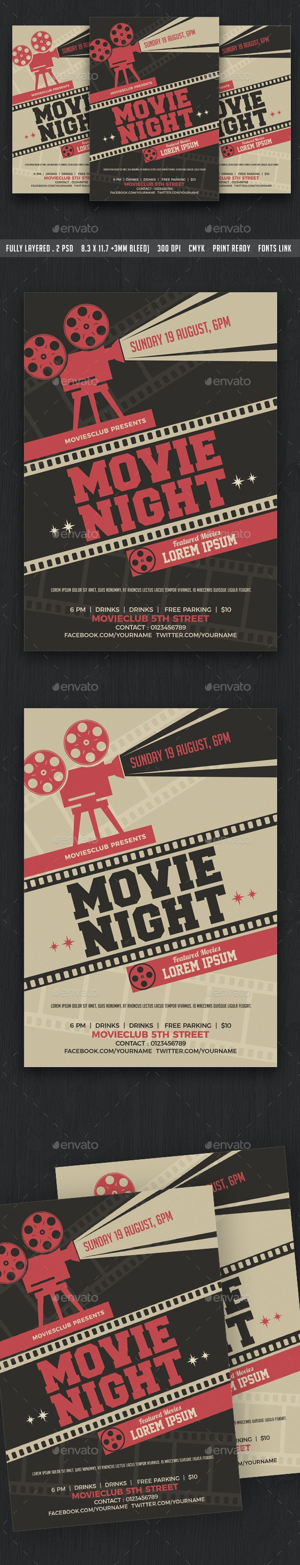 Movie Night / Movie Time Flyer - Clubs & Parties Events