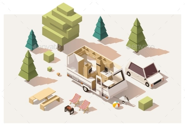 Isometric Low Poly Camping Equipment - Travel Conceptual