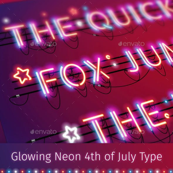 Glowing Neon Red Blue Type