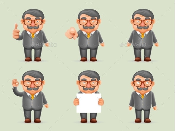 Businessman Different Actions Man Mustache Geek - People Characters