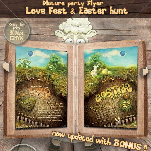 Party flyer- Valentines Love Fest & Easter hunt