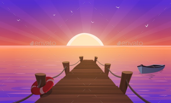 Cartoon Sunset At Pier - Landscapes Nature