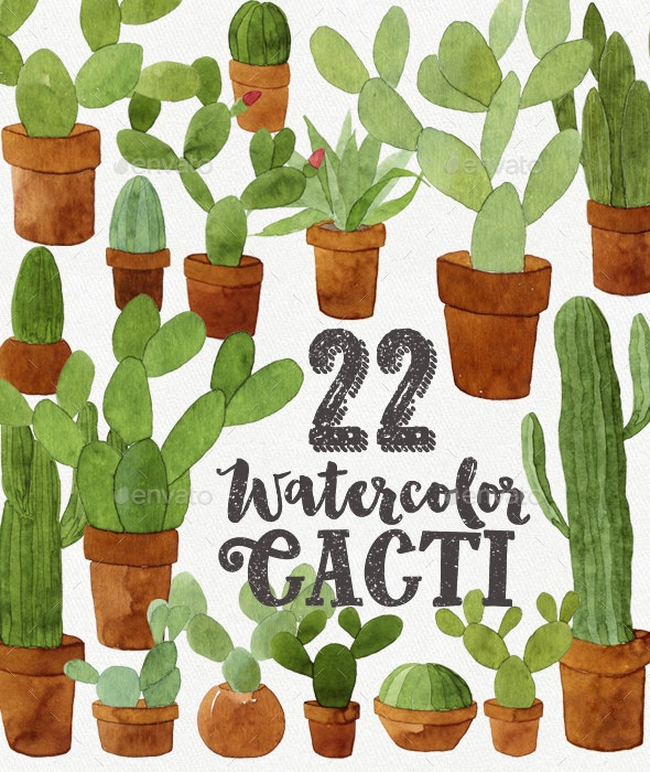 22 Watercolor Cacti - Illustrations Graphics