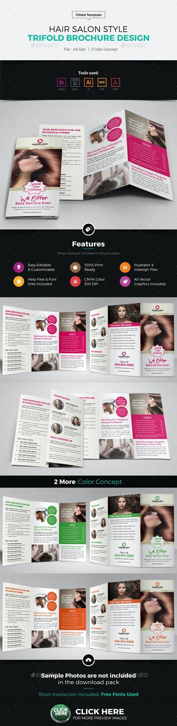 Hair Salon Style Trifold Brochure Design - Corporate Brochures