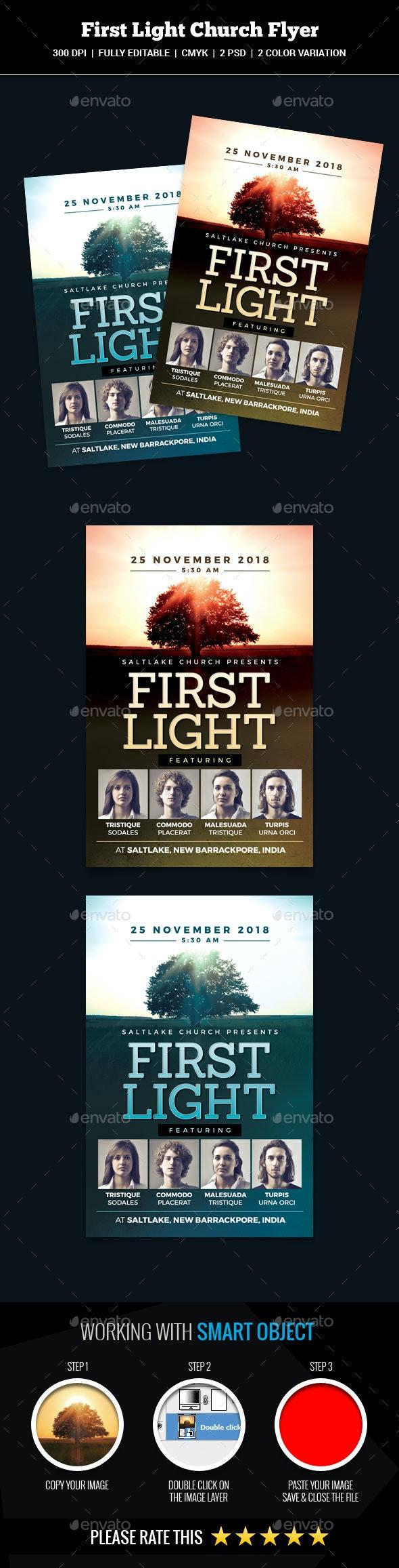 First Light Church Flyer - Church Flyers