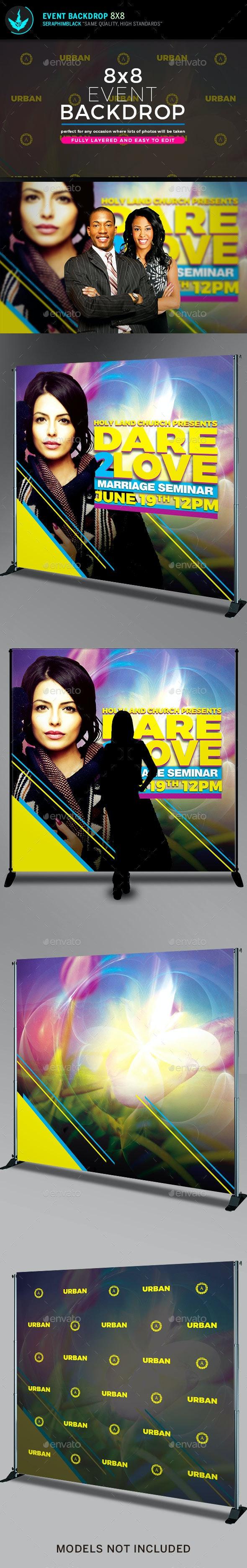 Dare 2 Love 8x8 Backdrop Template - Signage Print Templates