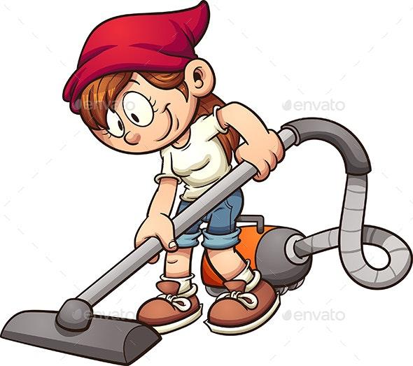 Girl Vacuuming - People Characters