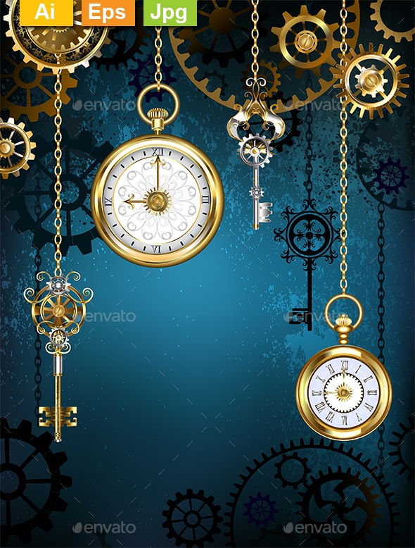 Design with Clocks and Gears - Backgrounds Decorative