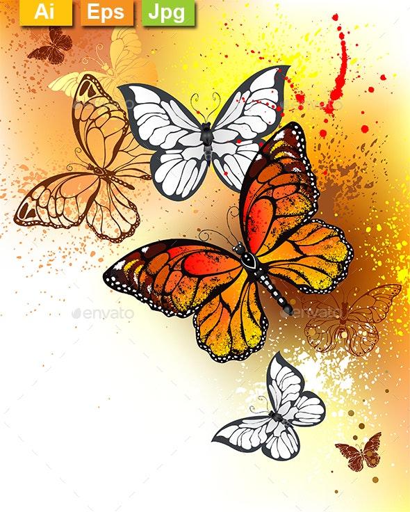 Summer Butterflies Monarchs - Animals Characters