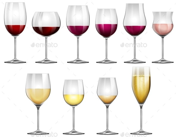 Wine Glasses Filled with Red and White Wine - Food Objects