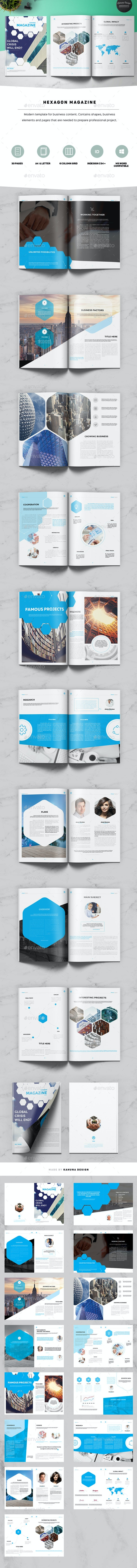 Hexagon Business Magazine - Magazines Print Templates