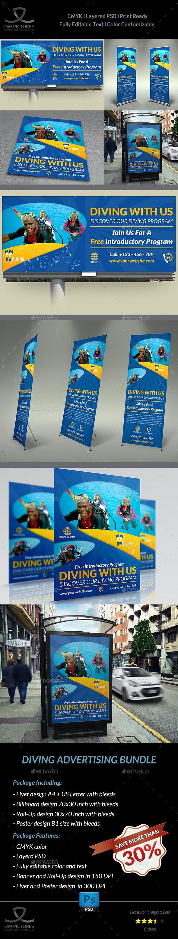 Diving Advertising Bundle Vol.2 - Signage Print Templates