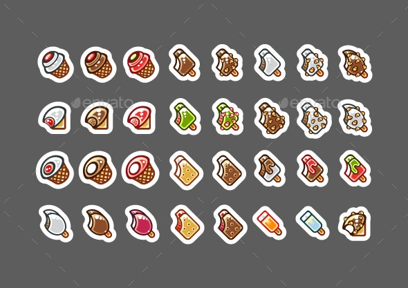 2D Bitten Ice Creams for Creating Video Games - Food Objects