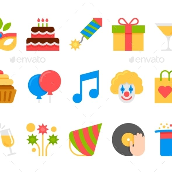 Party, Holiday, Birthday Vector Flat Icons Set