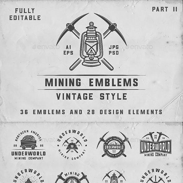 36 Vintage Mining Emblems