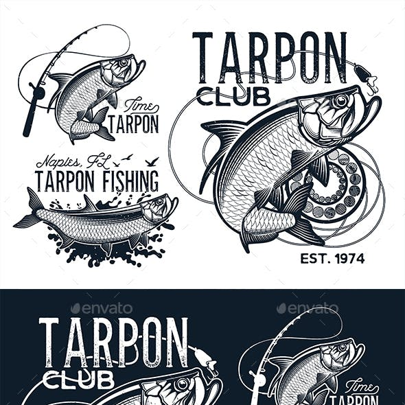 Vintage Tarpon Fishing Emblems