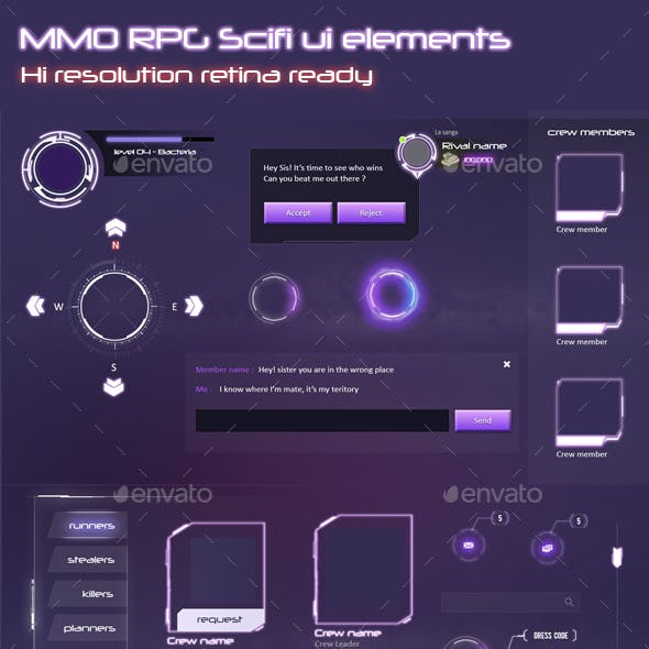 MMO RPG - Sci Fi Game UI Elements