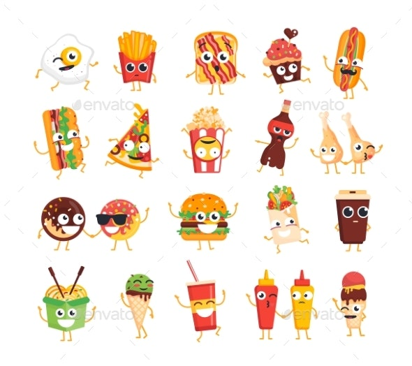 Fast Food Characters - Vector Set of Mascot - Food Objects