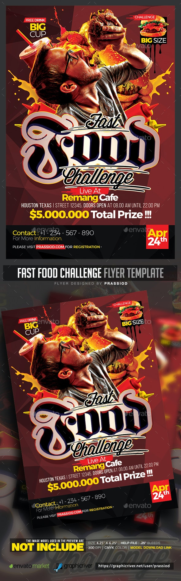 Fast Food Challenge Flyer Template - Events Flyers