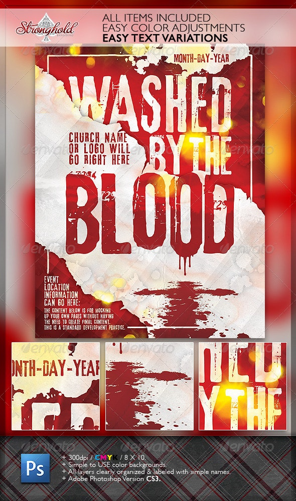 Washed By The Blood Church Flyer - Church Flyers