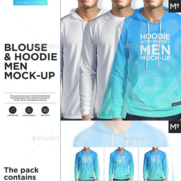 2 Types of Hoodie & Blouse Mock-up