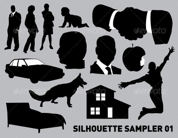 Silhouette sampler 01 - People Characters