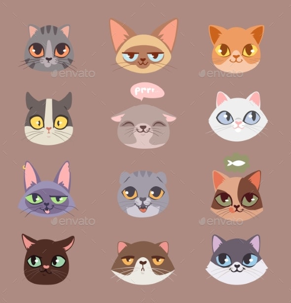 Cats Vector Heads Illustration - Animals Characters
