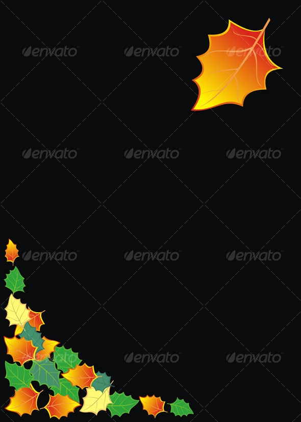 Black background with autumn leaves - Backgrounds Decorative