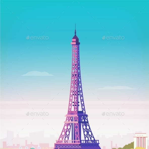 Vector Illustration. Paris. Eiffel Tower