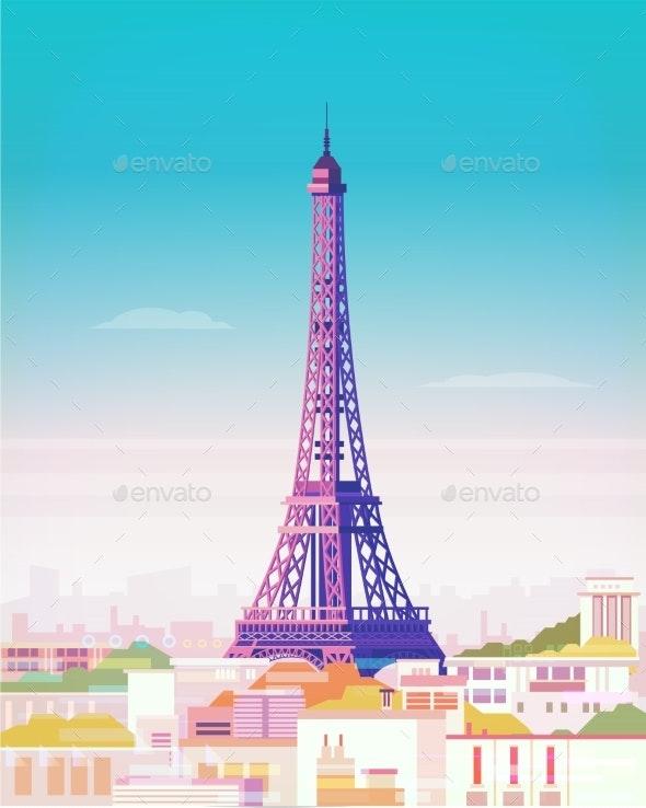 Vector Illustration. Paris. Eiffel Tower - Buildings Objects