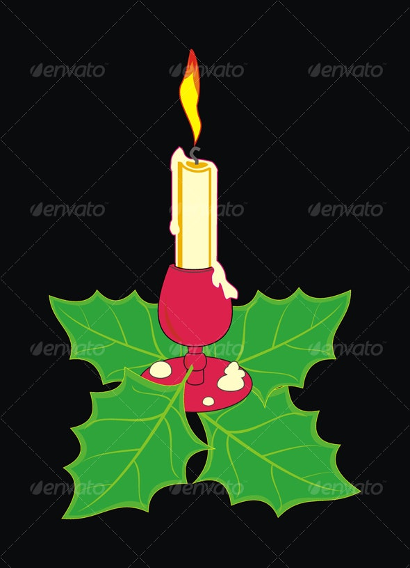 Christmas candle in a candlestick  - Christmas Seasons/Holidays