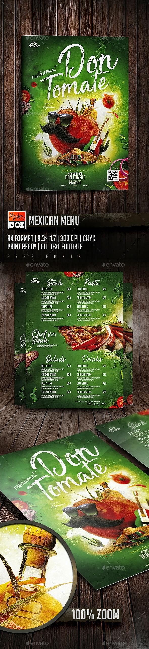 Mexican Menu - Food Menus Print Templates