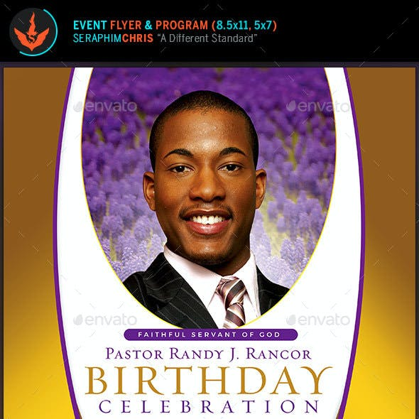 Royal Pastor Birthday Flyer and Program Template