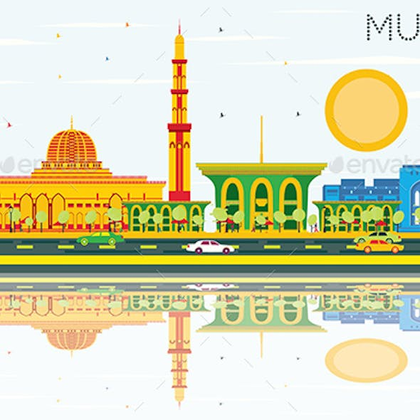 Muscat Skyline with Color Buildings, Blue Sky and Reflections.
