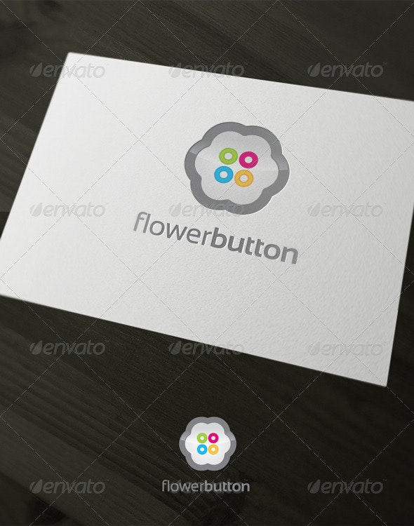 Flower Button - Objects Logo Templates