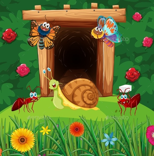 Many Insects in Front of Tunnel - Animals Characters
