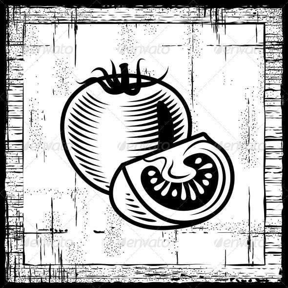 Retro Tomato Black And White - Food Objects